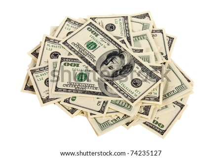 Heap of one hundred dollar bills U.S. on white background