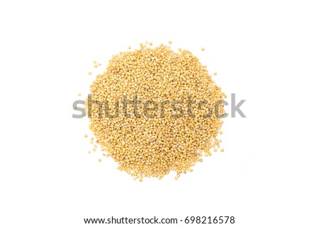 Heap of organic millet groats, top view, isolated Stockfoto ©