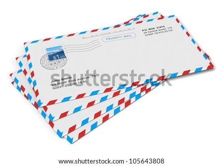 Heap of paper mail letters isolated on white background