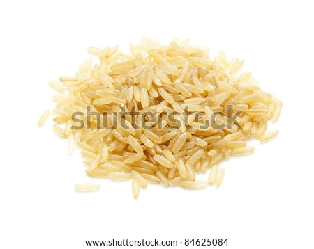 heap of parboiled long-grain rice isolated on white - stock photo