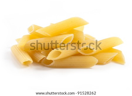 heap of pasta on white background