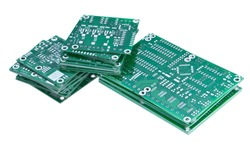 Heap of PCBs isolated on white