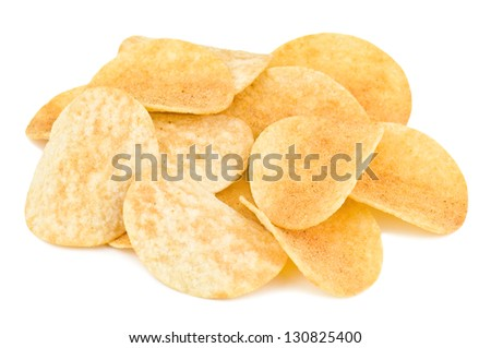 heap of potato chips on white