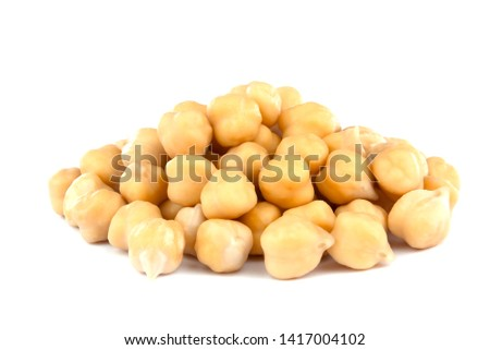 Heap of preserved chickpeas isolated on white background. healthy food