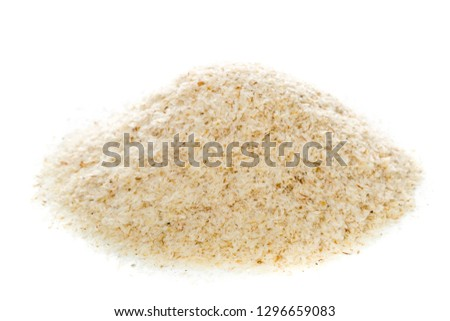 Heap of psyllium husk over white background. Psyllium husk also called isabgol is fiber derived from the seeds of Plantago ovata plant found in India. Stock photo ©