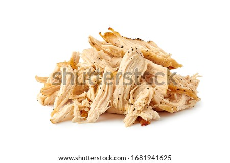 Photo of  Heap of pulled chicken meat on white