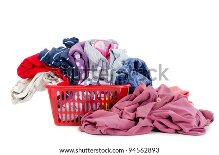 Heap of pure clothes isolated on white