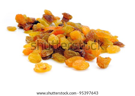 Heap of raisin on a white background