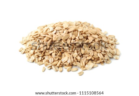 Heap of raw oatmeal on white background #1115108564