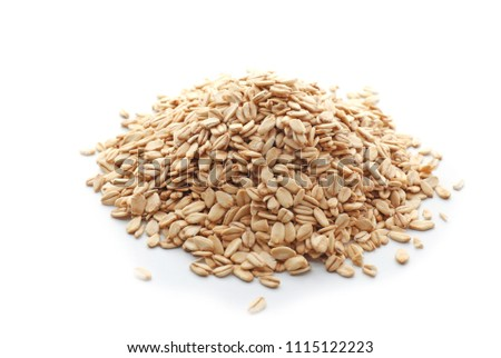 Heap of raw oatmeal on white background #1115122223