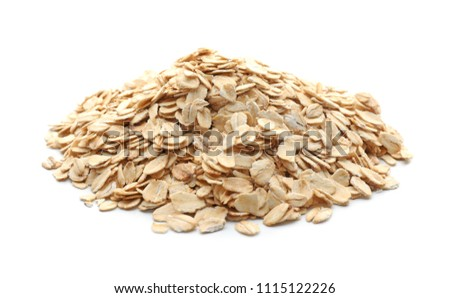 Heap of raw oatmeal on white background #1115122226