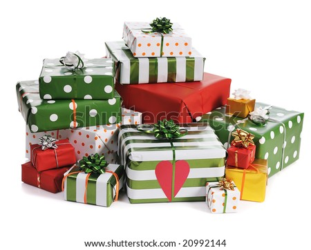 heap of red and green Christmas gifts isolated on white background