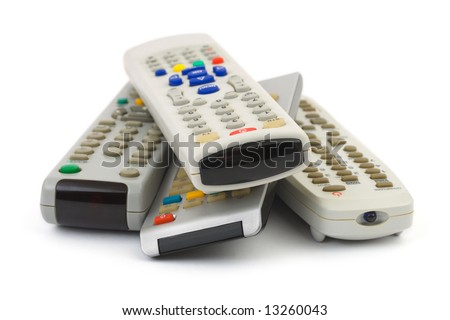Heap of remote control isolated on white background