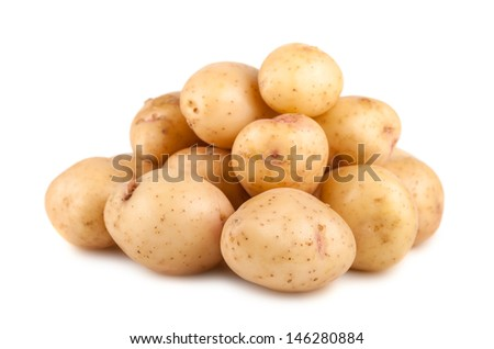 Heap of ripe raw potato isolated on white background