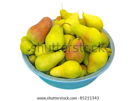 Heap of ripe sweet pears in the basket isolated on white. Clipping path included.