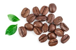 Heap of roasted coffee beans with leaves isolated on white background with clipping path and full depth of field . Top view. Flat lay.