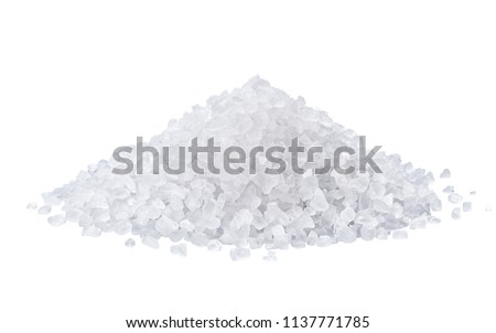 heap of salt isolated on white background with clipping path