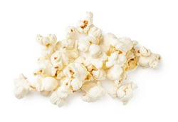 Heap of salted popcorn, isolated on white background. Top view.