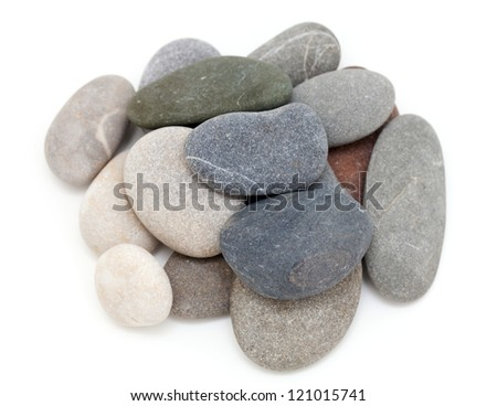 heap of sea stones isolated on white background