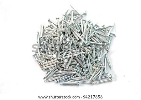 Heap of  Silver Concrete nails isolated on white