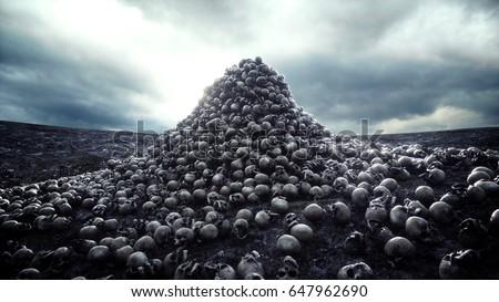 Shutterstock heap of skulls. Apocalypse and hell concept. 3d rendering.