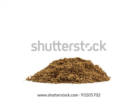 Heap of soil isolated on white background - stock photo