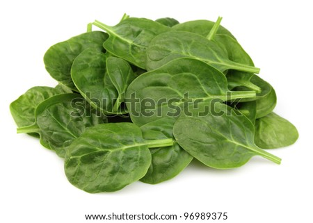 Heap of spinach on a white background