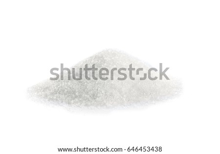 Heap of sugar on white background