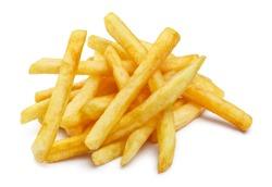 Heap of tasty potato fries, isolated on white background