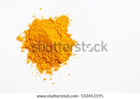 Shutterstock Heap of turmeric. Isolated on white. Empty space for text or inscription. Top view.