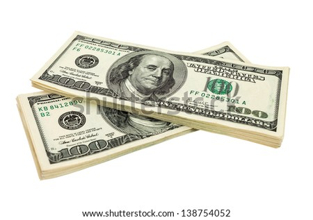 Heap of US dollars bills isolated on white background