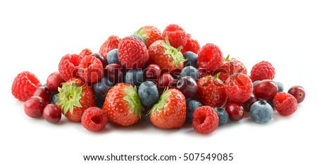 heap of various fresh berries isolated on white background