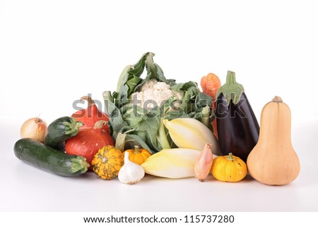 heap of vegetable on white