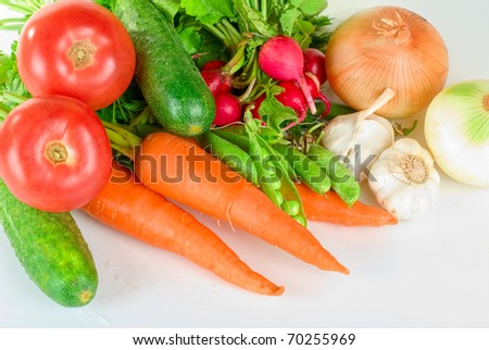 heap of vegetables isolated on white background
