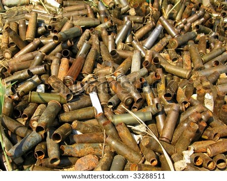 Heap of very old empty bullet shells