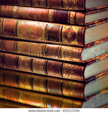 Heap of vintage books with golden touch #101211346