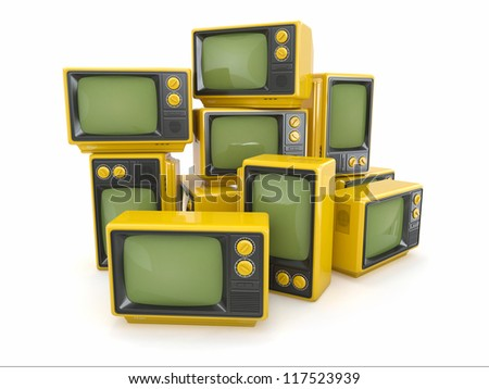 Heap of vintage tv on white background. 3d