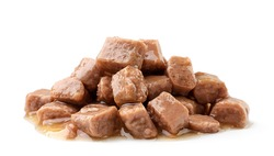Heap of wet pet food on a white background. Isolated
