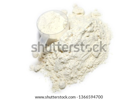 heap of whey protein powder with plastic spoon on white background sports nutrition healthy food nutritional supplements healthy lifestyle