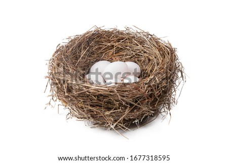 Photo of  Heap of white eggs in a straw nest on a white background