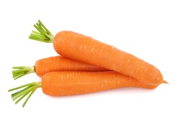 Heap of whole fresh carrots isolated on white background.