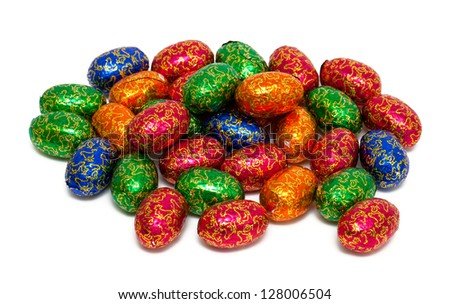heap of wrapped chocolate eggs