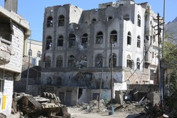 heap of wrecked houses destroyed by war and fierce fighting in al-Jahmaliya neighborhood in the eastof Taiz City, Yemen