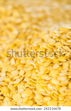 Heap of yellow Lentils close-up shot for use as background image or as texture #242116678
