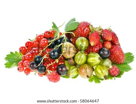Heap pile of fresh garden berries isolated on white