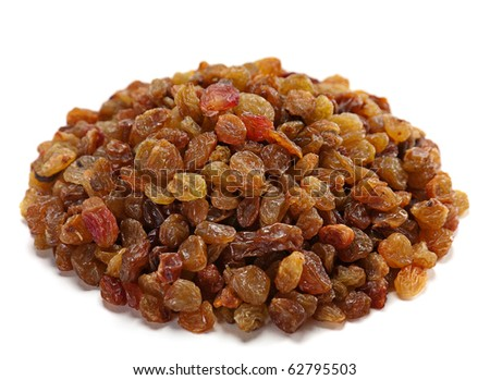 Heap raisin dried fruit isolated on white