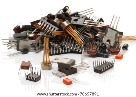 Heap various electronic components isolated on white background