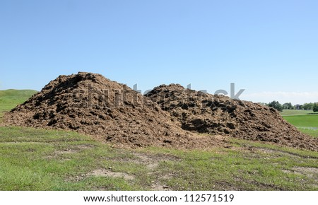 heaps of wood chip against blue sky