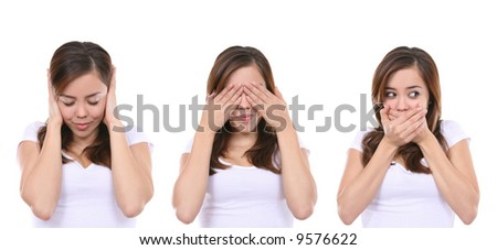 Hear no evil, see no evil and speak no evil, girl isolated on white background