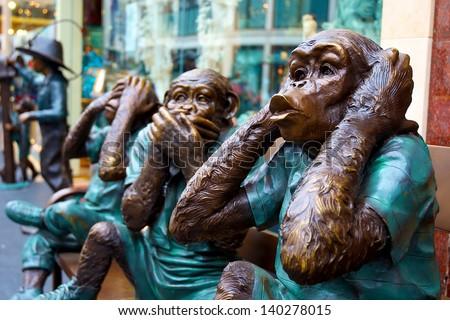 Hear no evil, speak no evil, see no evil �¢?? 3 wise monkeys statues in San Francisco